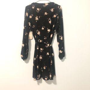 Black Floral Flowy Lounge Dress Robe Wrap Alter'd